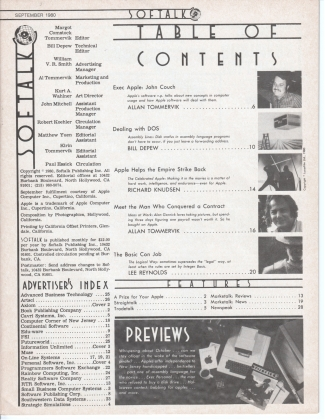 V1.01 Softalk Magazine contents page, September 1980