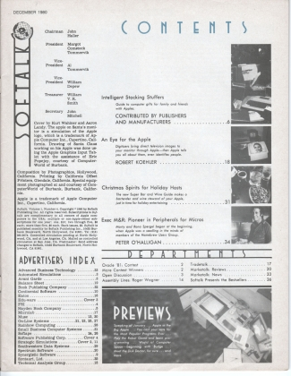 V1.04 Softalk Magazine contents page, December 1980