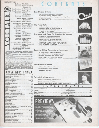 V1.06 Softalk Magazine contents page, February 1981