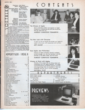 V1.07 Softalk Magazine contents page, March 1981