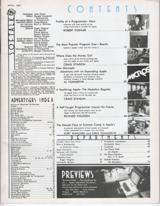 V1.08 Softalk Magazine contents page, April 1981