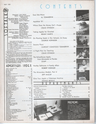 V1.09 Softalk Magazine contents page, May 1981