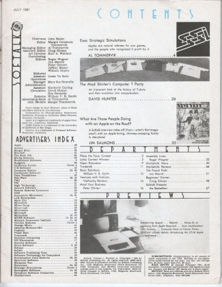 V1.11 Softalk Magazine contents page, July 1981