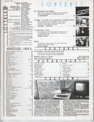 V1.12 Softalk Magazine contents page, August 1981