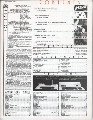 V2.01 Softalk Magazine contents, September 1981