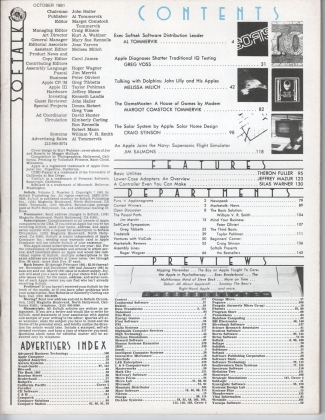 V2.02 Softalk Magazine contents page, October 1981