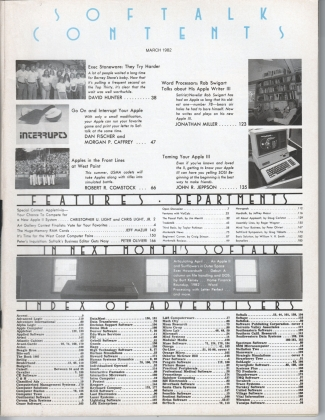 V2.07 Softalk Magazine contents page, March 1982