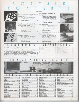 V2.08 Softalk Magazine contents, April 1982