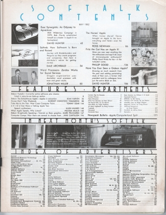 V2.09 Softalk Magazine contents page, May 1982