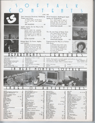 V2.10 Softalk Magazine contents page, June 1982