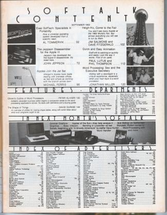 V3.01 Softalk Magazine contents, September 1982