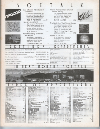 V3.02 Softalk Magazine contents, October 1982