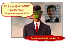 The Elusive Peter Caylor shown in famous art avatar and Apple LoRes (insert)